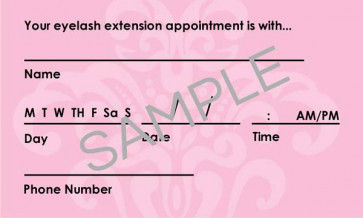 Lash Care Instructions & Appointment Card - 25 per Quantity