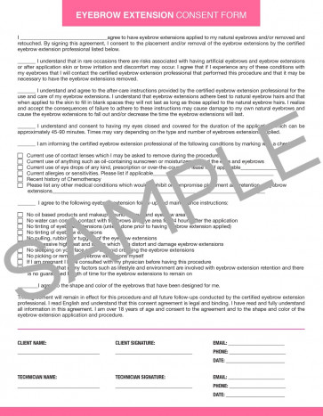 Downloadable Eyebrow Extension Consent Form