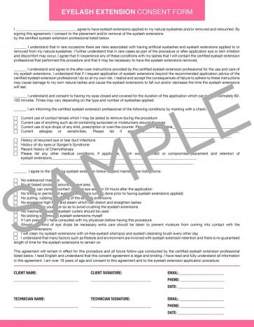Downloadable Eyelash Extension Consent Form