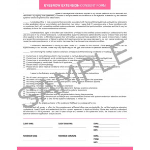 Eyebrow Extension Consent Form - 25 per quantity