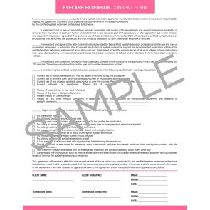 Eyelash Extension Consent Form - 25 per quantity